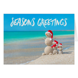 Beach Tropical Snowman Sand Seasons Greetings Card