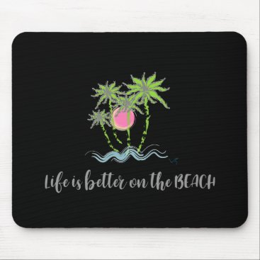 Beach Themed Beach Tropical Style Summer Graphic Black Mouse Pad