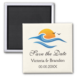 Beach tropical wave with bird Save the Date magnet