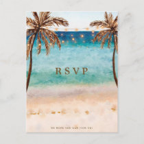 beach tropical wedding rsvp postcard
