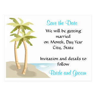 Beach/Tropical Wedding Save the Date Postcard