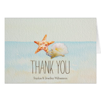 Beach Tropical with Starfish and Conch Thank you Card