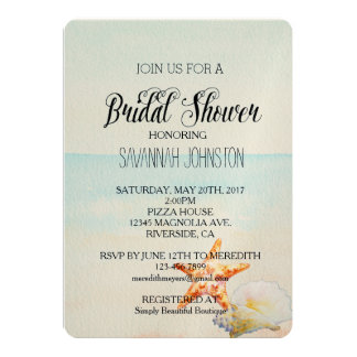 Beach Tropical with Starfish bridal shower Card