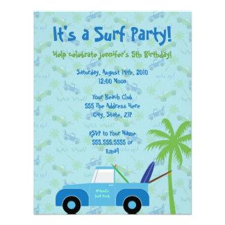 Beach Truck Surf Party Invitation - Blue