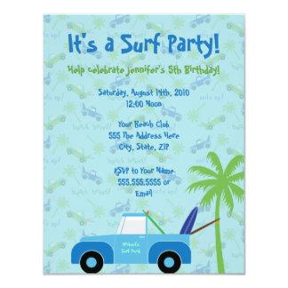 "Beach Truck Surf Party Invitation - Blue 4.25"" X 5.5"" Invitation Card"