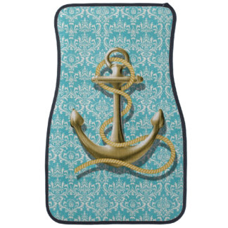 beach turquoise damask sailor nautical anchor car floor mat