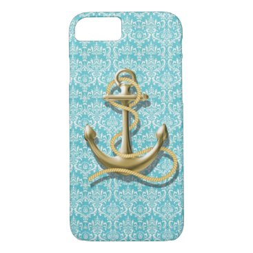 Beach Themed beach turquoise damask sailor nautical anchor iPhone 7 case