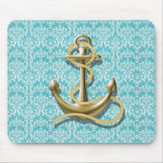 beach turquoise damask sailor nautical anchor mouse pad