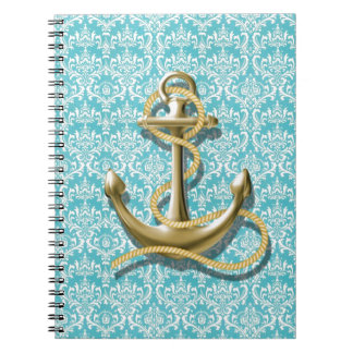 beach turquoise damask sailor nautical anchor spiral notebook