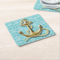 beach turquoise damask sailor nautical anchor square paper coaster