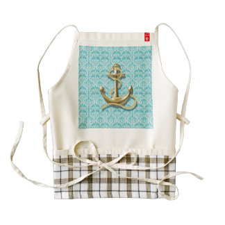 beach turquoise damask sailor nautical anchor zazzle HEART apron