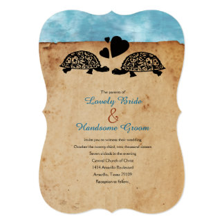 Beach Turtle Whimsical Wedding Invitation