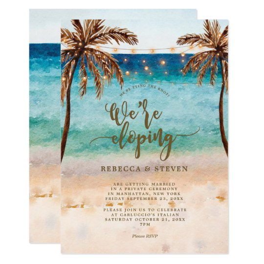 beach tying the knot eloping invitation zazzle com