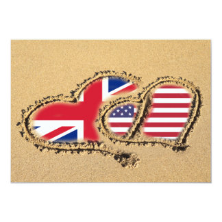 Beach UK And USA Love Hearts 5x7 Paper Invitation Card