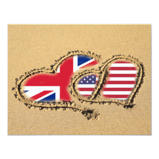 Beach UK And USA Love Hearts 4.25x5.5 Paper Invitation Card