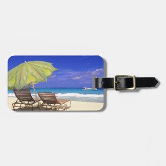 Beach Umbrella, Abaco, Bahamas Bag Tag
