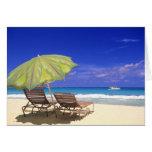 Beach Umbrella, Abaco, Bahamas Card