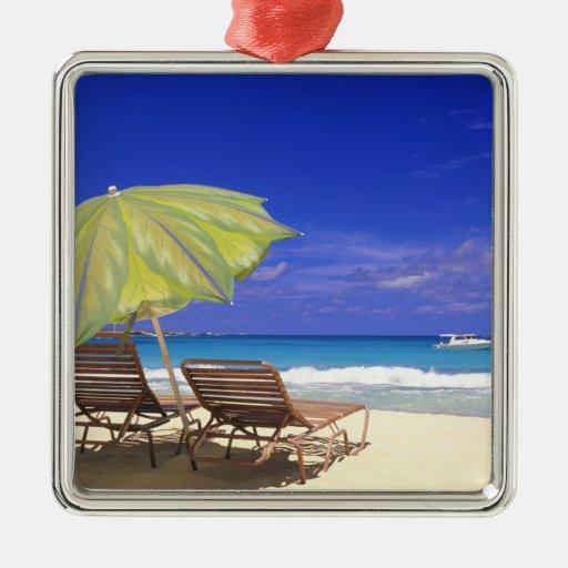 Beach Umbrella, Abaco, Bahamas Metal Ornament