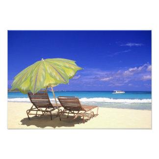 Beach Umbrella, Abaco, Bahamas Photo Print