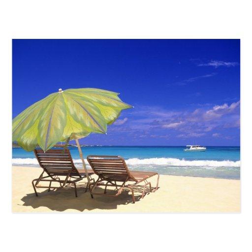 Beach Umbrella, Abaco, Bahamas Postcard
