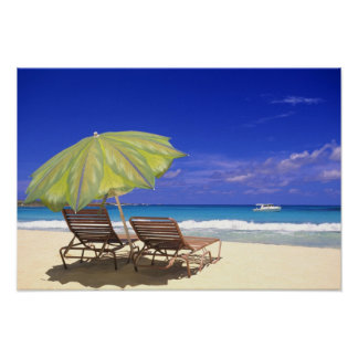 Beach Umbrella, Abaco, Bahamas Poster