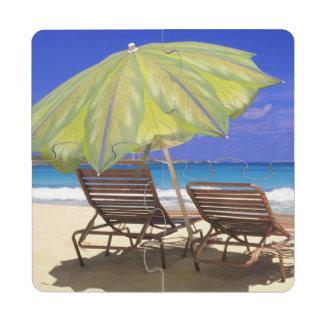 Beach Umbrella, Abaco, Bahamas Puzzle Coaster