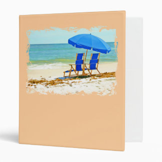 Beach, Umbrella and Chairs at the Shore 3 Ring Binder
