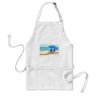 Beach, Umbrella and Chairs at the Shore Adult Apron