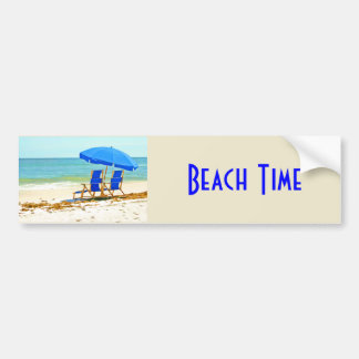 Beach, Umbrella and Chairs at the Shore Bumper Stickers