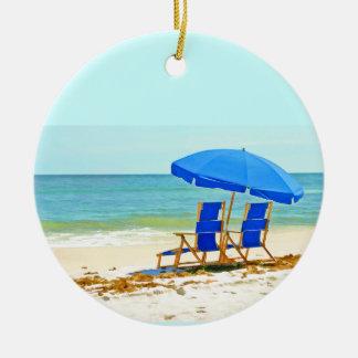 Beach, Umbrella and Chairs at the Shore Ceramic Ornament