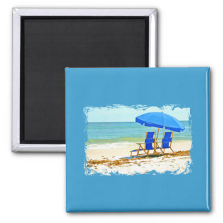 Beach, Umbrella and Chairs at the Shore 2 Inch Square Magnet