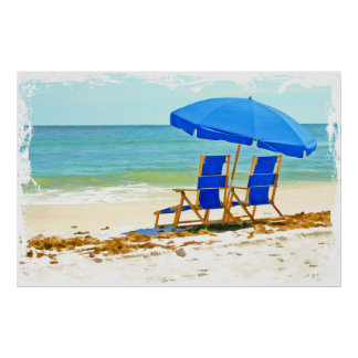 Beach, Umbrella and Chairs at the Shore Posters