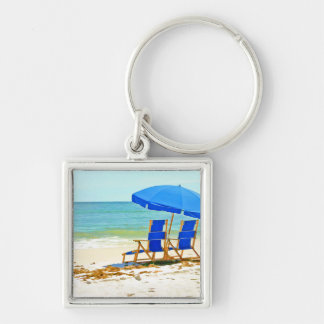 Beach, Umbrella and Chairs at the Shore Silver-Colored Square Keychain