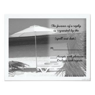 beach umbrella bw rsvp card