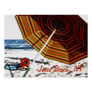 Beach Umbrella Glow Jones Poster