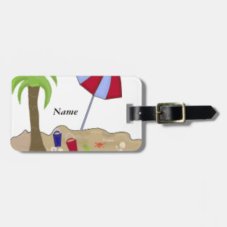 Beach Umbrella in the Sand Luggage Tags