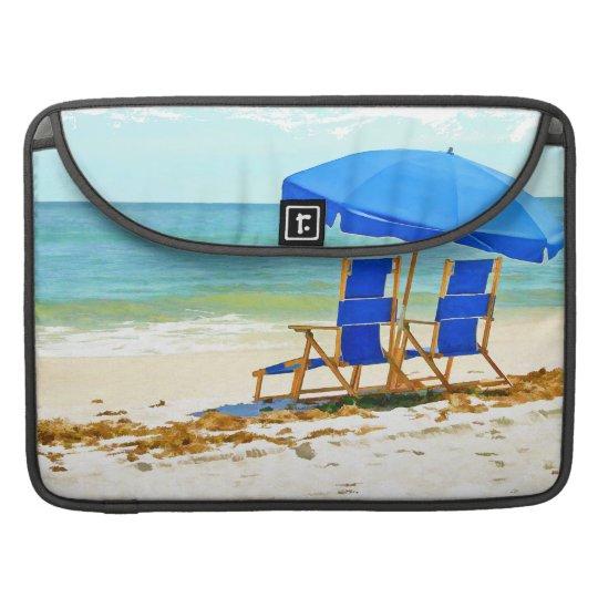 Beach, Umbrella, Ocean & Chairs MacBook Pro Sleeve