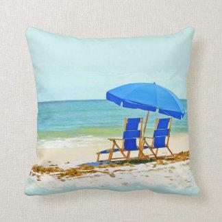 Beach, Umbrella, Ocean & Chairs Throw Pillow