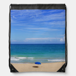Beach Umbrella Ocean Drawstring Backpack