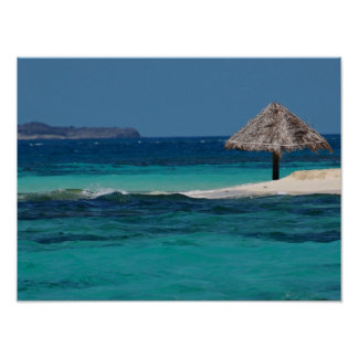 Beach Umbrella on a Caribbean Sandbar Poster