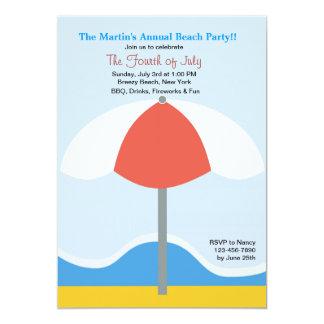 """Beach Umbrella Party Invitation 5"""" X 7"""" Invitation Card"""