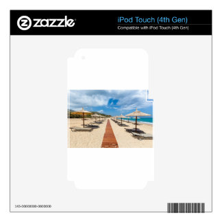 Beach umbrellas and loungers at greek sea iPod touch 4G decals