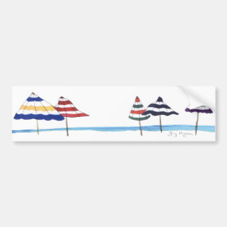 Beach Umbrellas Bumper Sticker Car Bumper Sticker