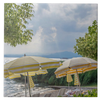 Beach umbrellas ceramic photo tile