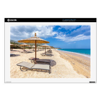 """Beach umbrellas in rows on sandy beach with sea decal for 17"""" laptop"""