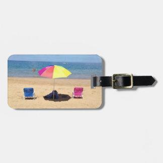 Beach umbrellas maui Hawaii luggage tag