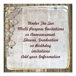 """Beach Under the Sea Multi purpose Invitation 5.25"""" Square Invitation Card"""