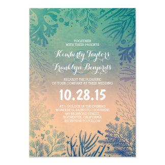 Beach Underwater Ocean Blue Corals Wedding Invitation