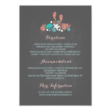 Beach Themed Beach Underwater Treasures Chalk Wedding Details Card