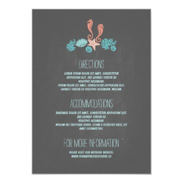 Beach Themed Beach Underwater Treasures Wedding Details Card